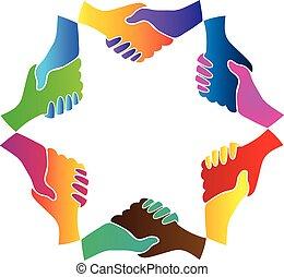 ロゴ, チームワーク, ビジネス, 握手