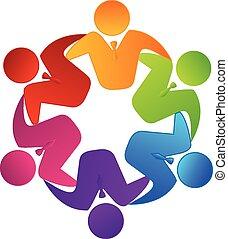 ロゴ, チームワーク, ベクトル, ビジネス