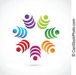 ロゴ, チームワーク, ベクトル, 概念