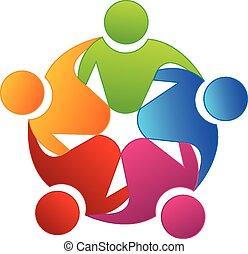 ロゴ, チームワーク, ベクトル, 統一