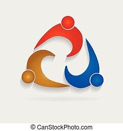 ロゴ, チームワーク, ミーティングの人々