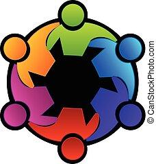 ロゴ, チームワーク, ミーティング, 抱き合う, 人々