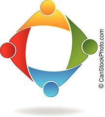 ロゴ, チームワーク, 人々ビジネス