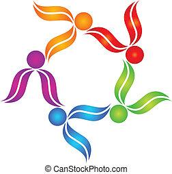 ロゴ, チームワーク, 人々, カラフルである