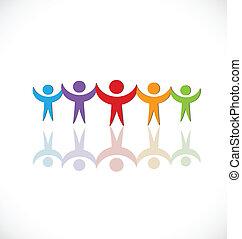 ロゴ, チームワーク, 人々, グループ