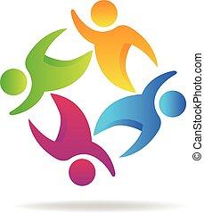ロゴ, チームワーク, 人々