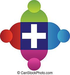 ロゴ, チームワーク, 人々, 交差点