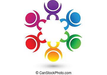 ロゴ, チームワーク, 人々, 共同体