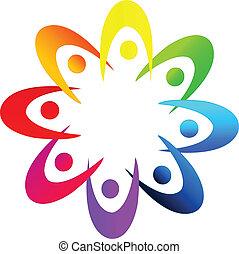 ロゴ, チームワーク, 人々, 多様性