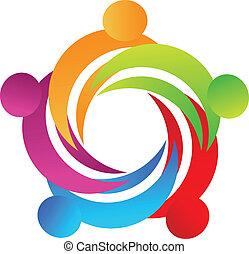 ロゴ, チームワーク, 人々, 抱擁