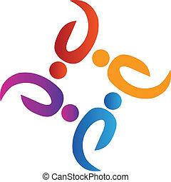 ロゴ, チームワーク, 人々, 社会