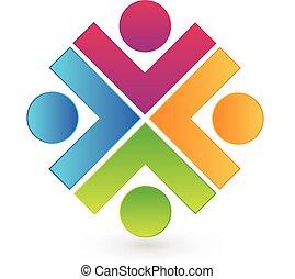 ロゴ, チームワーク, 人々, 組合