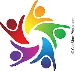 ロゴ, チームワーク, 人々, 統一