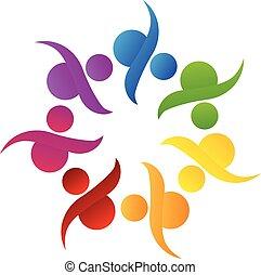 ロゴ, チームワーク, 共同体, 助け