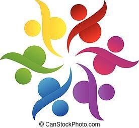 ロゴ, チームワーク, 助け, 共同体