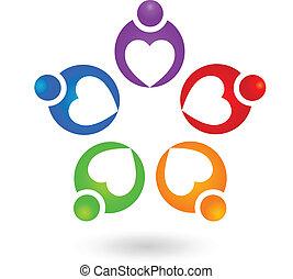 ロゴ, チームワーク, 協力, 人々