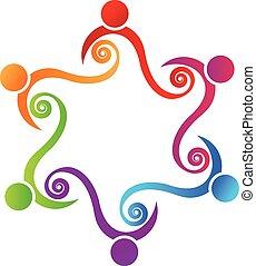 ロゴ, チームワーク, 友情, 概念