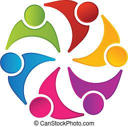 ロゴ, チームワーク, 合併した, 人々