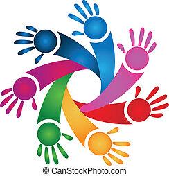 ロゴ, チームワーク, 子供, 手