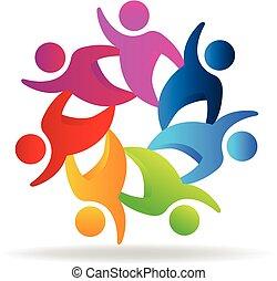 ロゴ, チームワーク, 幸せ, 人々