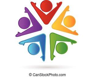 ロゴ, チームワーク, 幸せ