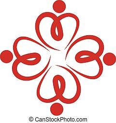 ロゴ, チームワーク, 愛 中心