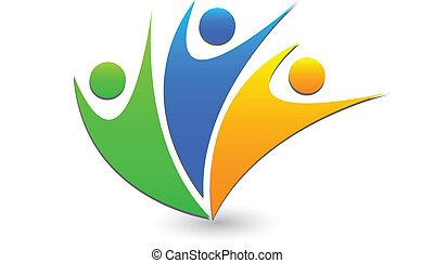 ロゴ, チームワーク, 成功, ビジネス