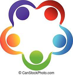 ロゴ, チームワーク, 手を持つ
