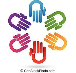 ロゴ, チームワーク, 手