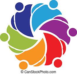 ロゴ, チームワーク, 抱き合う