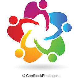 ロゴ, チームワーク, 抱き合う, 人々