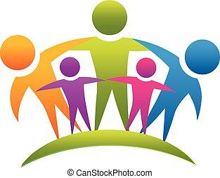 ロゴ, チームワーク, 抱き合う, 家族, 人々