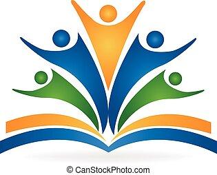 ロゴ, チームワーク, 教育, 本