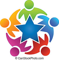 ロゴ, チームワーク, 星, 人々, アイコン
