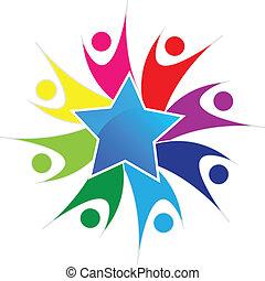 ロゴ, チームワーク, 星, 幸せ, 人々