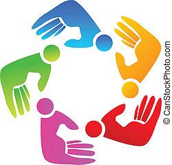ロゴ, チームワーク, 有色人種, 手