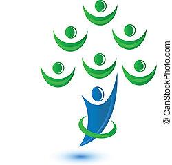 ロゴ, チームワーク, 木, グループ