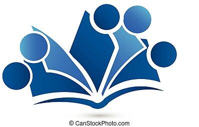 ロゴ, チームワーク, 本, ベクトル