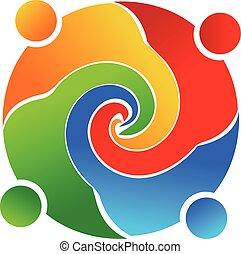 ロゴ, チームワーク, 渦巻, ベクトル