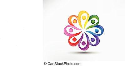 ロゴ, チームワーク, 統一, 花, 形, 多様性, 人々