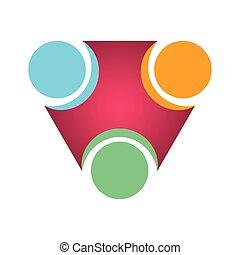 ロゴ, チームワーク, 隔離された, ビジネス