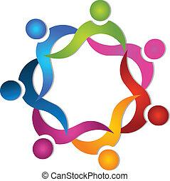 ロゴ, チームワーク, 7, カラフルである, 人々