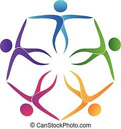 ロゴ, チームワーク, aでの人々, 抱擁