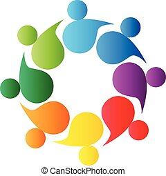 ロゴ, チームワーク, peiple, 共同体