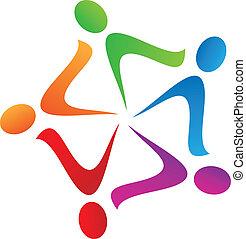 ロゴ, チームワーク, swoosh, ベクトル