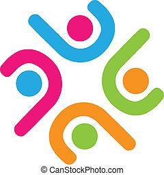 ロゴ, チーム, ビジネス, 成功, 人々