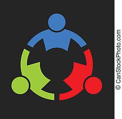 ロゴ, チーム, 強い, 3人の人々