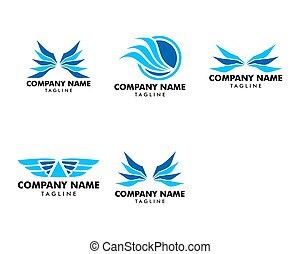 ロゴ, テンプレート, ベクトル, デザイン, アイコン, セット, 翼