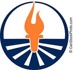 ロゴ, デザイン, ベクトル, トーチ, テンプレート