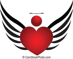 ロゴ, デザイン, 天使, アイコン